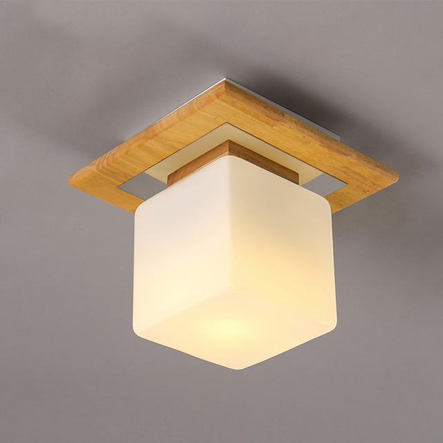 Vintage Wood Fixture Ceiling Lamp Glass Lampshade Ceiling Light Decoration  Bedroom Living Room Restaurant Corridor Balcony