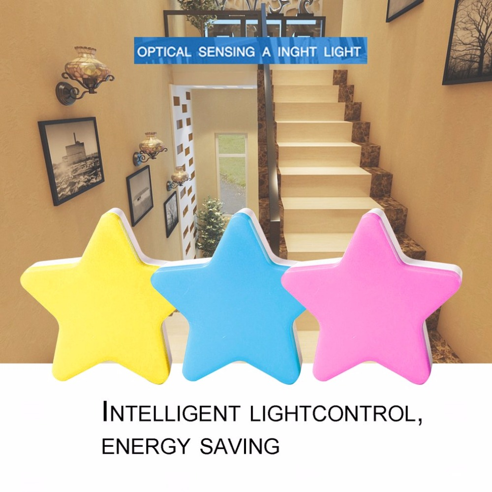 Security & Protection Auto-control Switch Anti-fall Lighting Light Star Shape Led Wall Light Energy Saving Home Decoration Sensor Night Light Us Plug