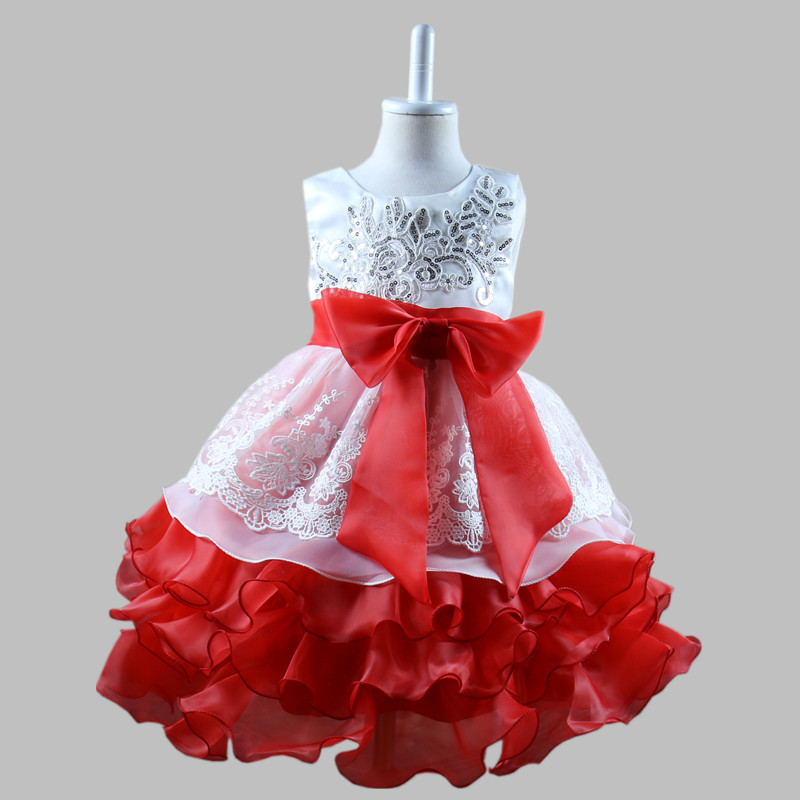 2018 Kids Party Dresses Girls Wedding Birthday Lush Ruffles Tutu Children Costume Brand Baby Girl Clothing 3 4 5 6 7 8 Years Old