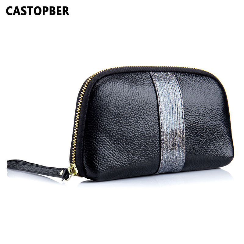 Cow Genuine Leather Women Coin Purse Women Small Wallet Change Purses Money Ladies Day Clutch Wallet Phone Case Contrast Color