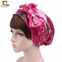 NEW Satin bow headscarf comfortable sleeping bonnet curly hair wrap womens head scarf head wrap cap недорого