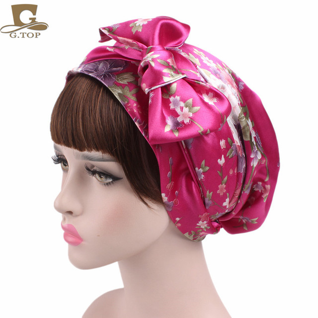 New Satin Bow Headscarf Comfortable Sleeping Bonnet Curly Hair Wrap Womens Silk Head Scarf