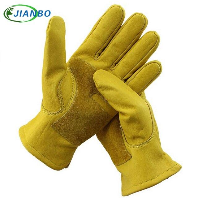 力学ドライバ男性モトワーク手袋防水安全ガーデン手袋革溶接保護牛革レースガーデン手袋