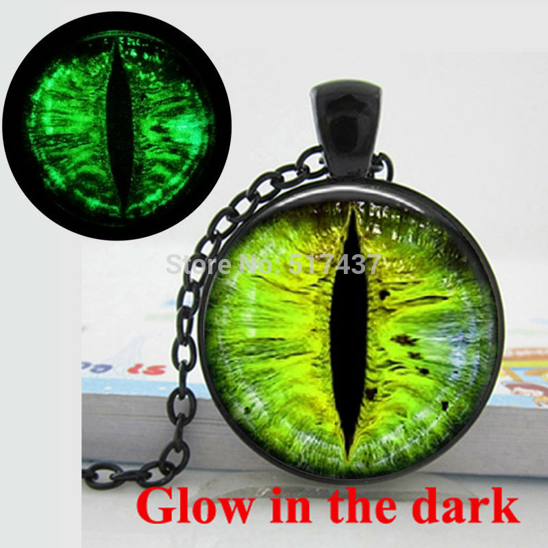 Glow in the Dark Pendant green eye necklace Dragon eye Necklace art photo glass cabochon necklace pendant Glowing jewelry
