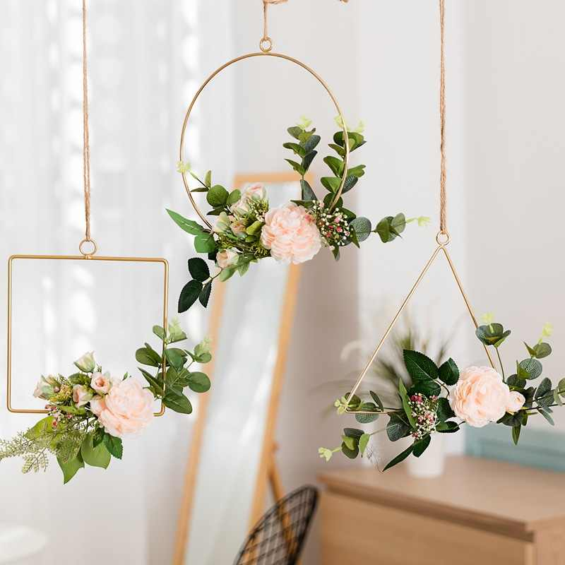 Nordic style Geometric Shape Gold Metal Hanging Wall Decor Hook DIY Storage Rack Home Wedding Decoration Accessoriesb For Flower