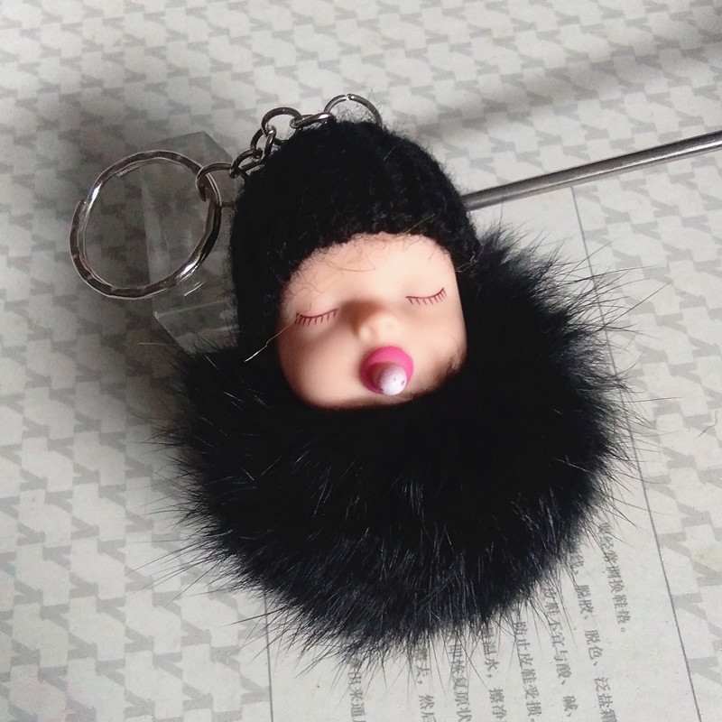New Sleeping Baby Key Chain Cute Cartoon Pacifier Baby Keyring Real Rabbit Fur Ball Keychain Pompons Handmade Crafts Party Gifts