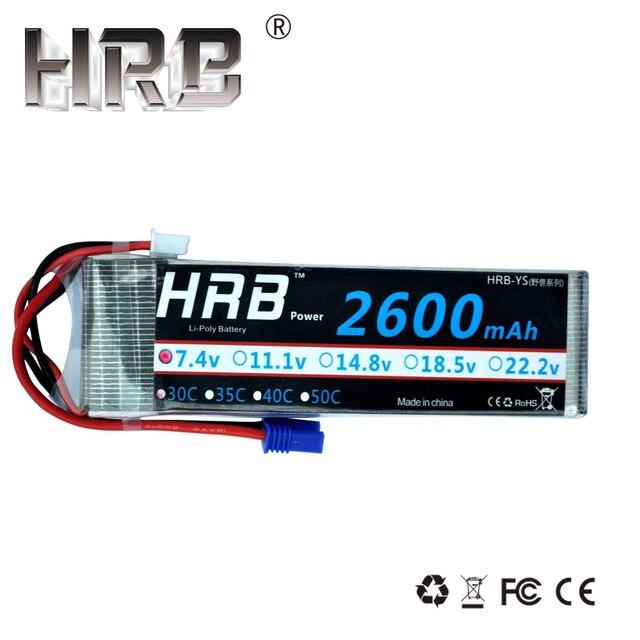 HRB 2600 mAh Lipo Batterie 2 S 7,4 V 30C EC2 XT60 EC5 TRX RC Teile Für Hubsan H501S Quadcopter flugzeug Off-Road Auto Lkw FPV Drone
