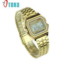 Hot hothot Womens Men Watch Stainless Steel Digital Alarm Stopwatch Classic Silver Gold WristWatch Men nv2 Dropshipping