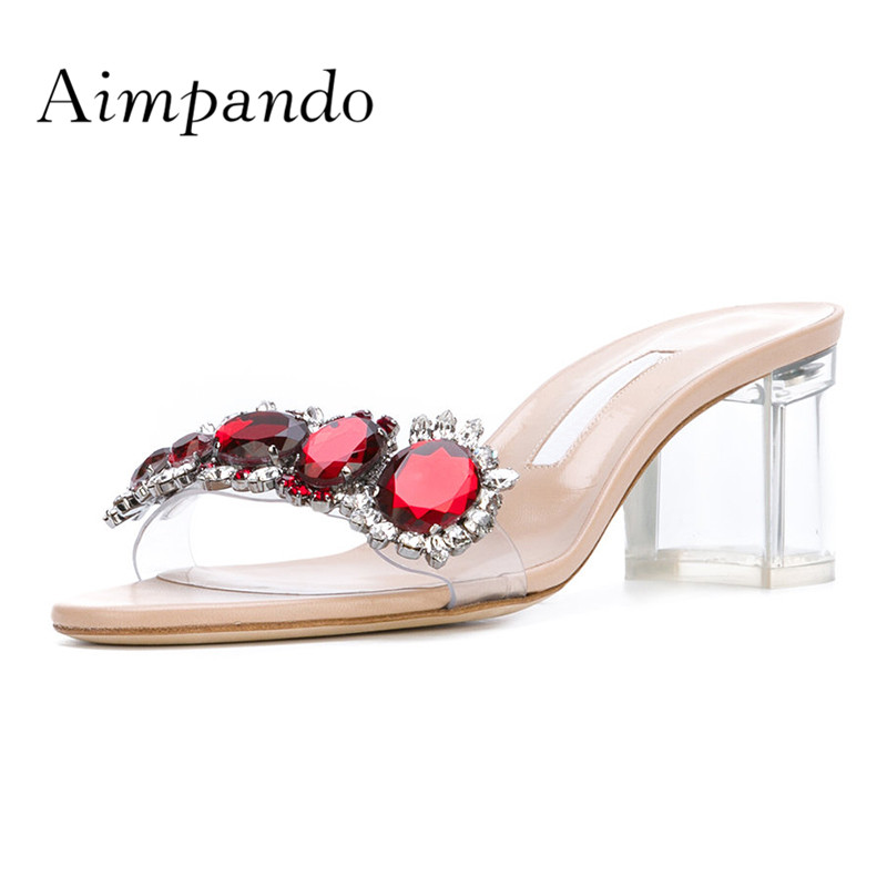 2019 Sexy Transparent Gladiator Sandals Women Open Toe Mixed Color Rhinestone High Heel Shoes Kardashian Wedding