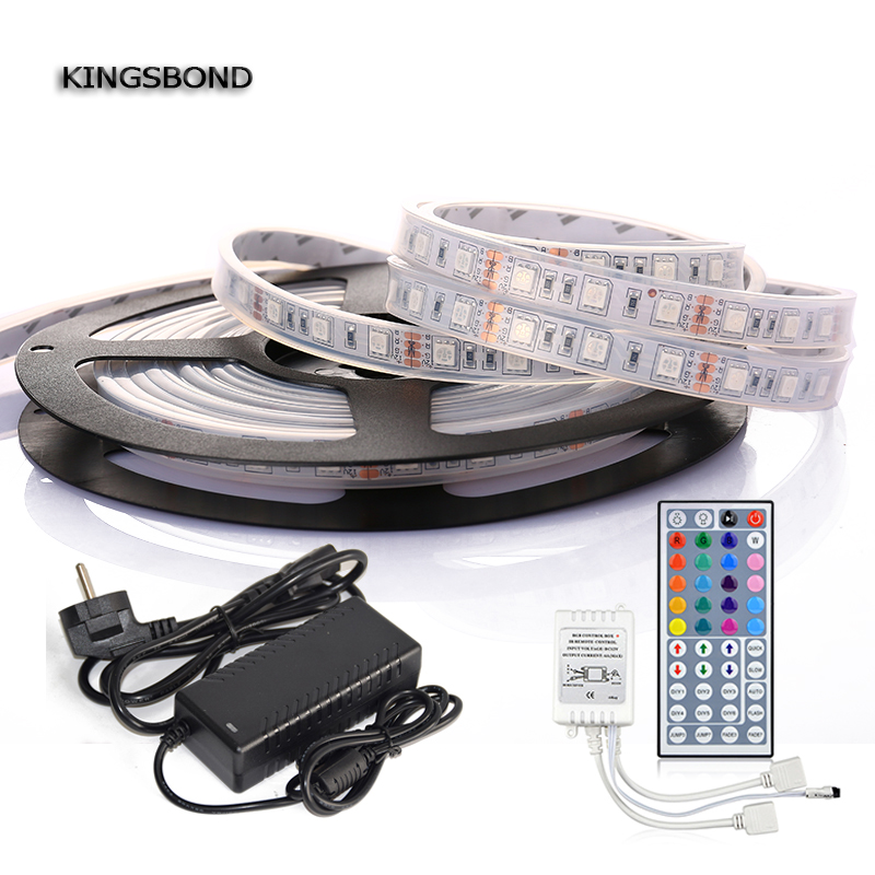 Waterproof IP67 5050 LED Strip Light RGB 5 Meters 300 SMD5050 DC 12V + 44kyes remote con ...