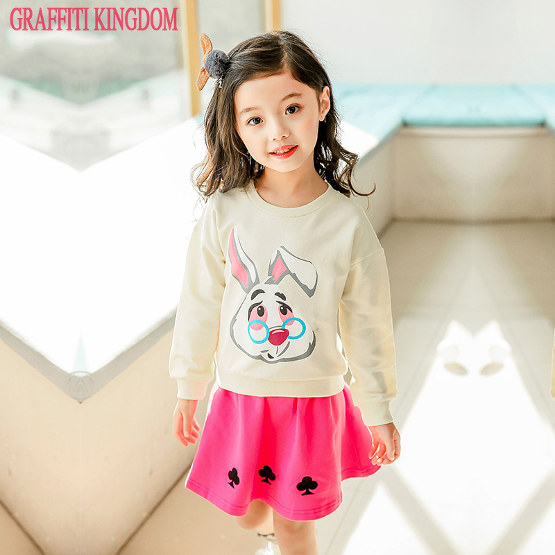 High quality boutique two piece set for girl Spring New 2018 baby girl fashion Clothes Sets children top Sweatshirts + skirt