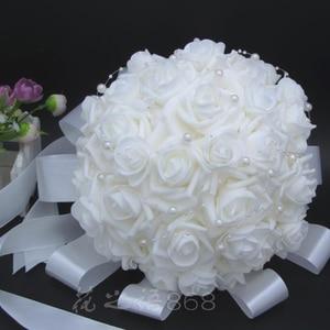 Image 2 - Romantic Wedding Bridesmaid Rose Pearls Artificial Flowers Bridal Bouquets Handmade Wedding Bouquets