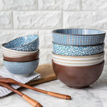 Ceramic Bowl Japanese Classical Tableware Kitchen Soup Noodle Porcelain Rice Bowl Big Ramen Bowls Spoon and Tea Cup E classical cherry blossom ceramic bowl set with bamboo chopstick fruit salad rice soup ramen bowl water tea cup kitchen tableware