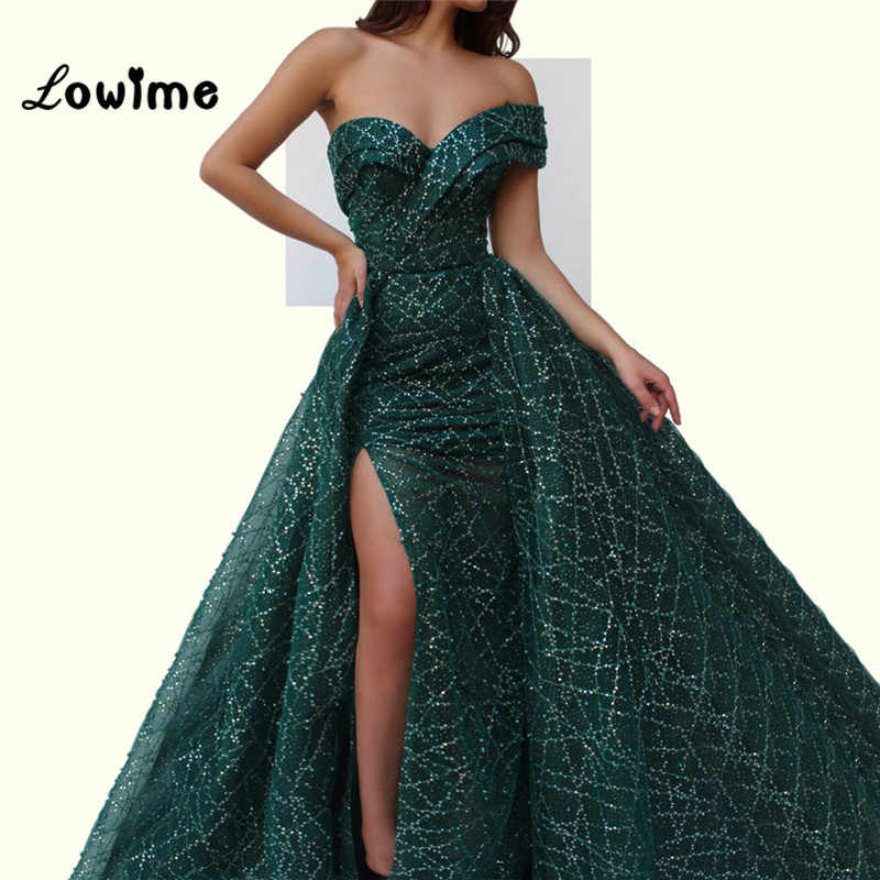 00fc9a1f512 ... Green Evening Dresses Arabic One Shoulder Party Gowns 2018 Abendkleider  With Detachable Train Shiny Fabric Long ...