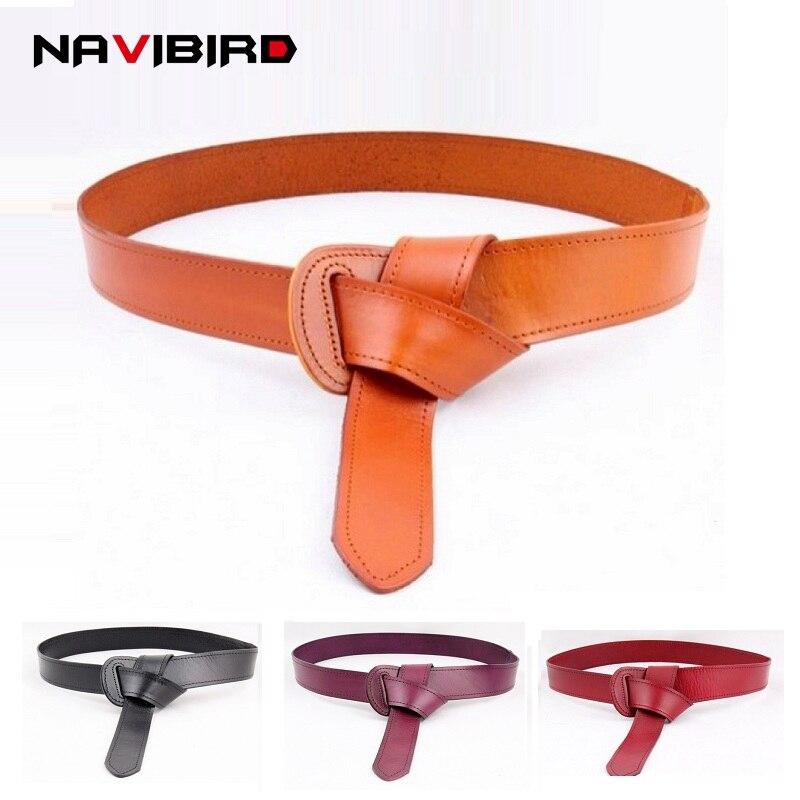 120 cm genuino cinturón de cuero sin hebilla arco largo Tieclasps vestido cinturones para las mujeres vaca cuero Real correa de cintura riem