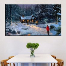 Snow Forest Holiday Countryside Thomas Kinkade Night Landscape Cottage in Painting Prints Canvas Wall Art Room Decor