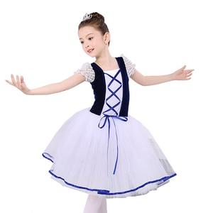 Image 2 - Nowe romantyczne Tutu Giselle balet kostiumy dziewczyny dziecko Velet długi tiul sukienka Skate baleriny sukienka z krótkim rękawem koronki sukienka