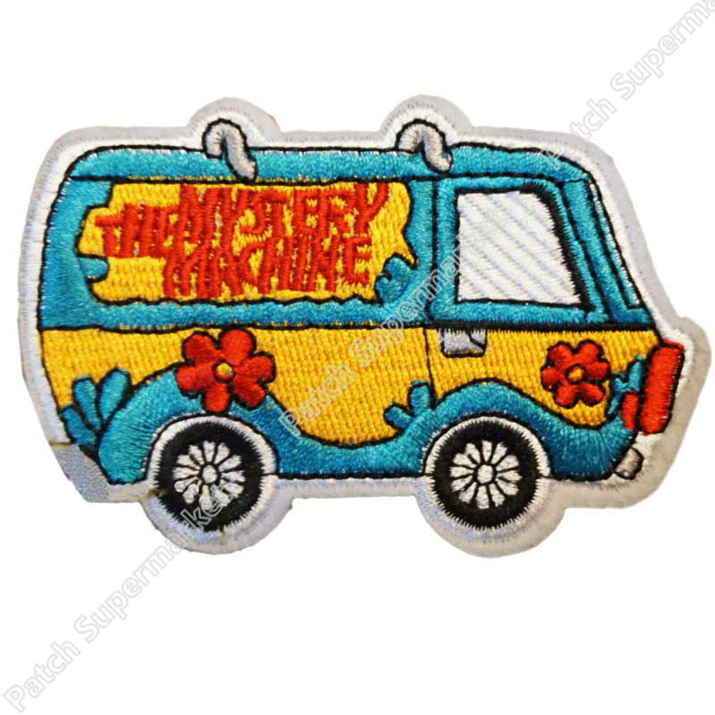 """3.3"""" SCOOBY DOO THE MYSTERY MACHINE VAN Emblem Embroidered TV MOVIE Series Iron On Patch rock retro stickers wholesale dropship-in Patches from Home & Garden    1"""