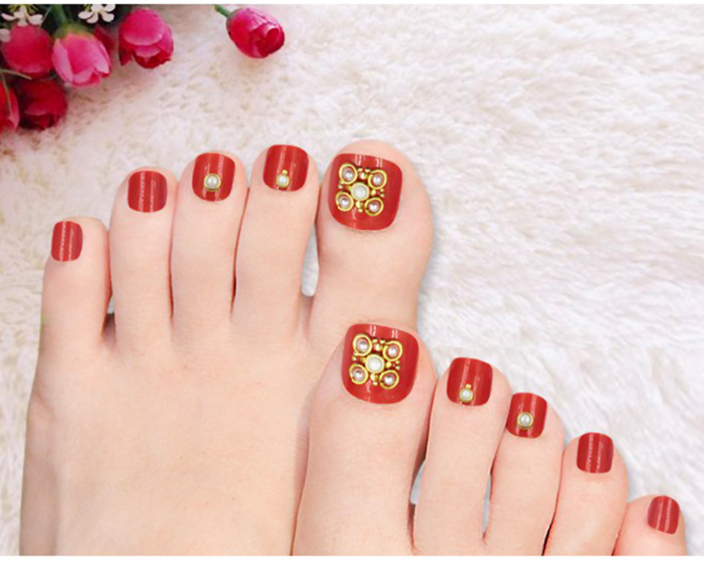 24Pcs False Toe Nails Tips Nail Set Pedicure Tool Acrylic Toenail ...