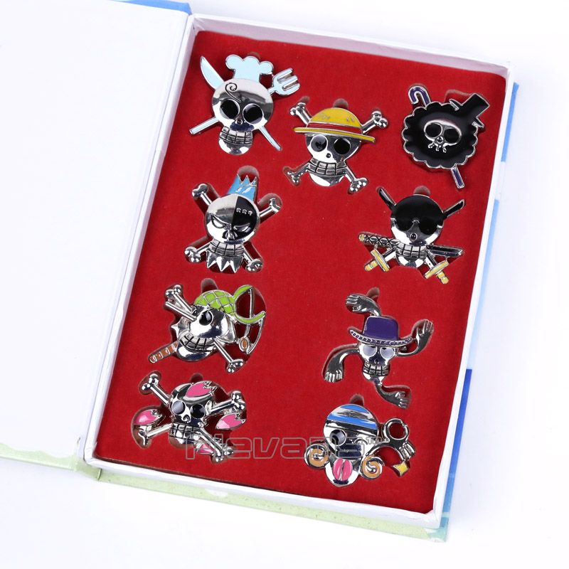 Toys & Hobbies Anime Cartoon One Piece Skeleton Metal Figures Toys Brooch 9pcs/set Strong Resistance To Heat And Hard Wearing