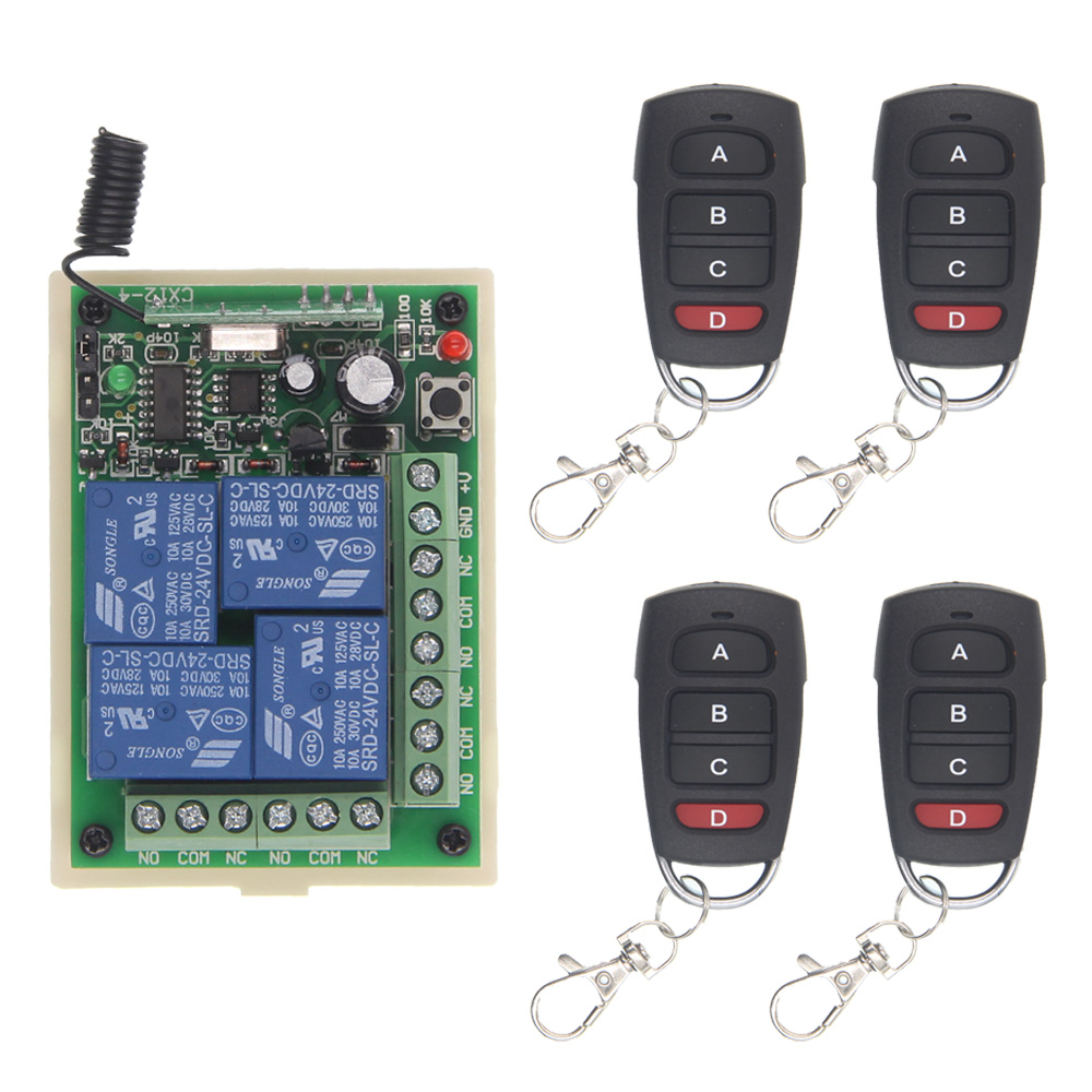 DC 12V 24V 4 Channel 4CH RF Wireless Remote Control Switch System Receiver + 4 X Transmitter, 315 433.92 MHz,M T L