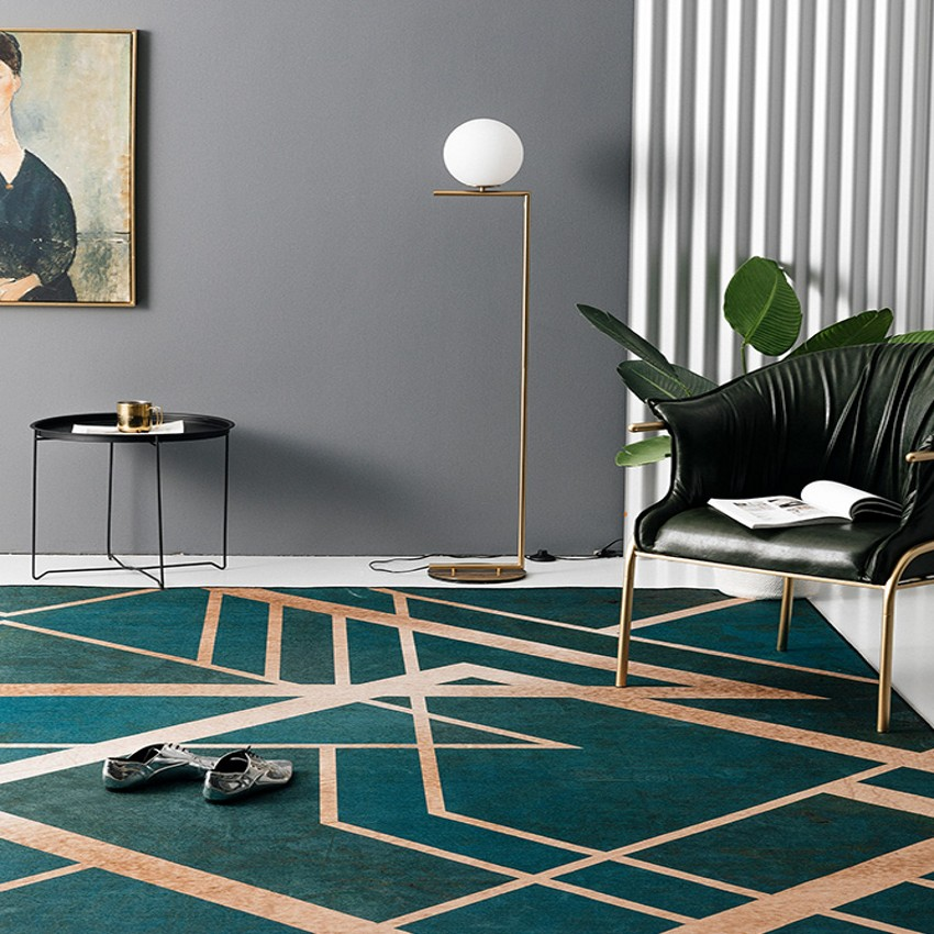 Nordic style popular dark green color with metallic stripe living room rug, girl's bedside carpet, decoration ground mat