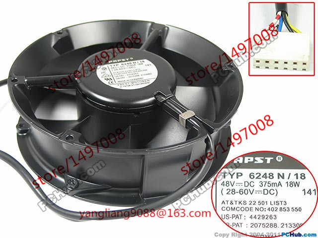 Free Shipping TYP 6248 N/18 DC 5V 0.09A 5-wire 6-Pin connector 100mm 172x172x51mm Server Round Cooling fan free shipping for ebmpapst dv5214n dv5214 n dc 24v 18 5w 2 wire 2 pin connector 110mm 127x127x38mm server square cooling fan