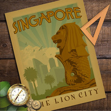 The Lion City Singapore Vintage Retro Poster Kraft Paper Wall Sticker Art Antique Painting Living Room Cafe Bar Home Decor