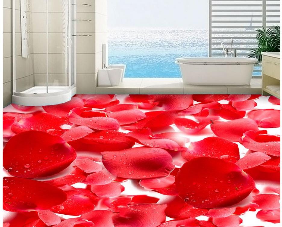 Red Rose Fashion 3D floor Floor wallpaper 3d for bathrooms Custom Photo self-adhesive 3D PVC waterproof floor