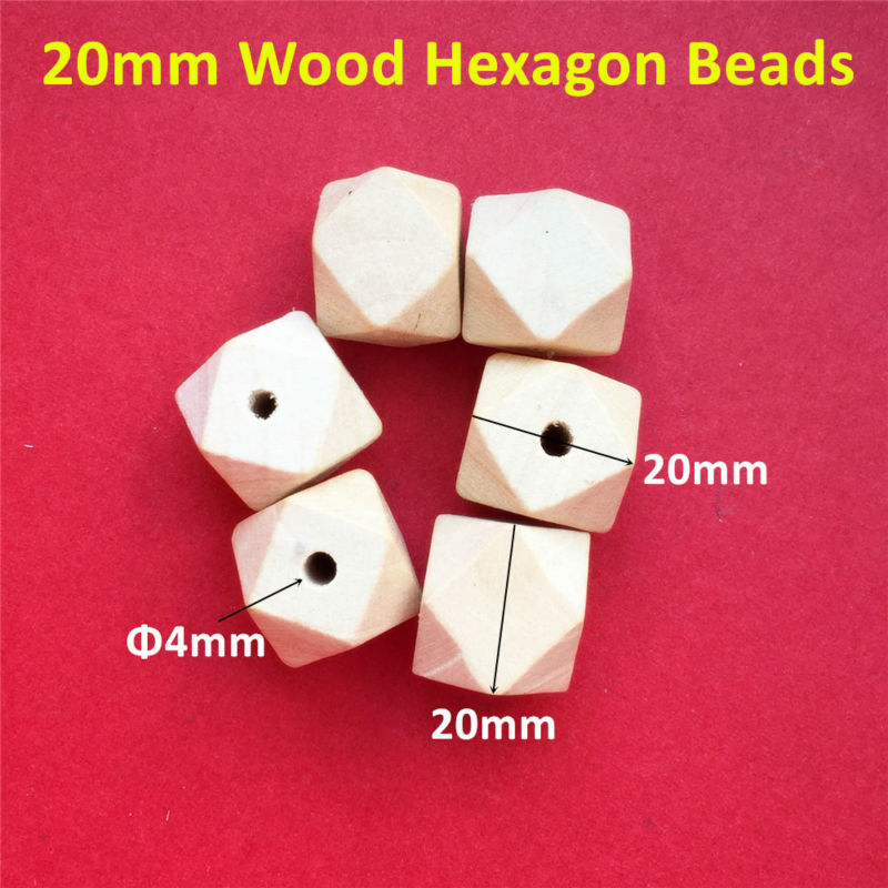 50 pçs/lote 20mm Hexagon contas arborizadas inacabadas natureza Clipe Cadeia chupeta Manequim Bebê Dentição Jóias Colar de Contas de Madeira