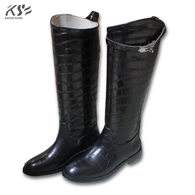 crocodile leather women kelly boots knee high luxury designer brand boots kelly buckle H boots really cow leather winter boots