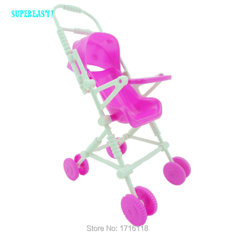 Kid Play House Nursery Furniture Pink Stroller Plastic Trolley Accessories Toys For Barbie Kelly Size Doll 1 : 12 Puppet