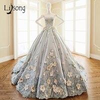 Ultra Romantic Floral Gray Wedding Dresses Long Appliques Luxury Bridal Dress Bridal Formal Dress Longa Vestidos