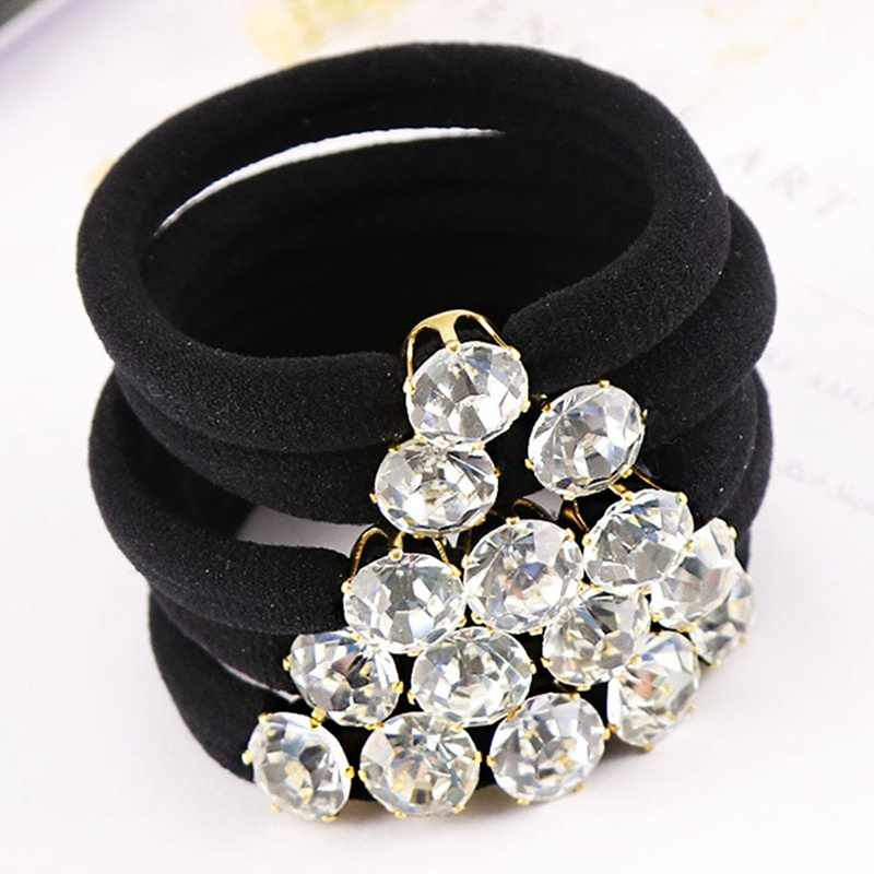 Korean Elegant Rhinestones Women Hair Accessories Simple Black Elastic Hair Bands Girl Hairband Hair Rope Gum Rubber Band