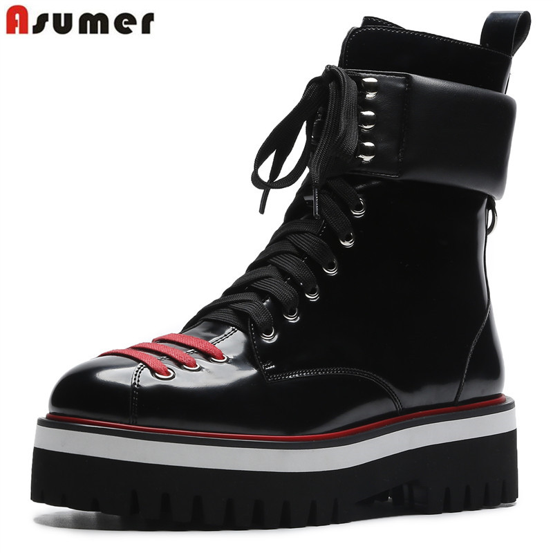 ASUMER big size 34-43 fashion autumn winter boots women round toe classic motorcycle boots lace up platform shoes ankle boots beango fashion metal toe rivets women boots lace up round toe low heel motorcycle booties casual shoes woman big size 34 43eu