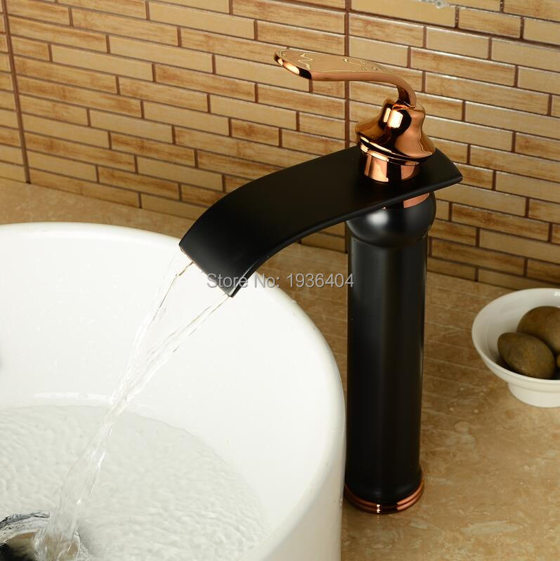 Basin Faucets Waterfall Bathroom Sink Faucet Hot and Cold Black Faucet Big Square Spout Mixer Tap Torneira Banheiro B3284 стойка для акустики waterfall подставка под акустику shelf stands hurricane black
