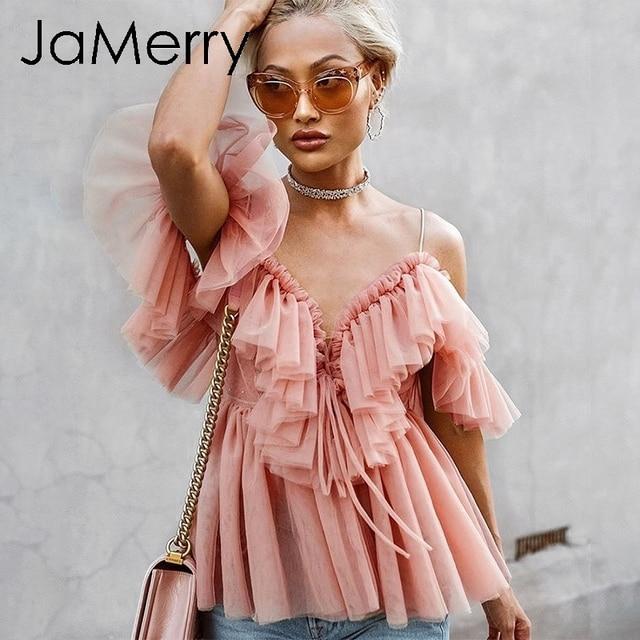 JaMerry w stylu Vintage sexy boho mesh bluzka koszula kobiety na co dzień stałe wzburzyć z długim rękawem elegancki topy lato lace up panie blusas 2019