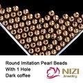 Contas de resina Pérola Para Artesanato Resina Rodada Contas Imitação de Pérolas de Café Escuro Com Furo 18 g/saco Perfeito Para DIY decoração