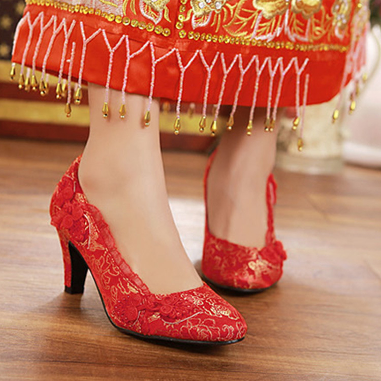 Red Wedding Shoes High-heeled Dragon And Phoenix Clothing Cheongsam Shoes Thick With Women Single Shoes Chinese Bridal Shoes