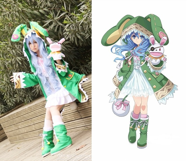 Date A Live Yoshino Cosplay Costume Green Hooded Coat Halloween Costumes  for Women Coat+Shoes
