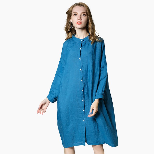 d652c32ad1e Oversize Linen Shirt Dress Women Simple Style Solid Long Sleeve Button Up  Loose Midi Dresses Spring