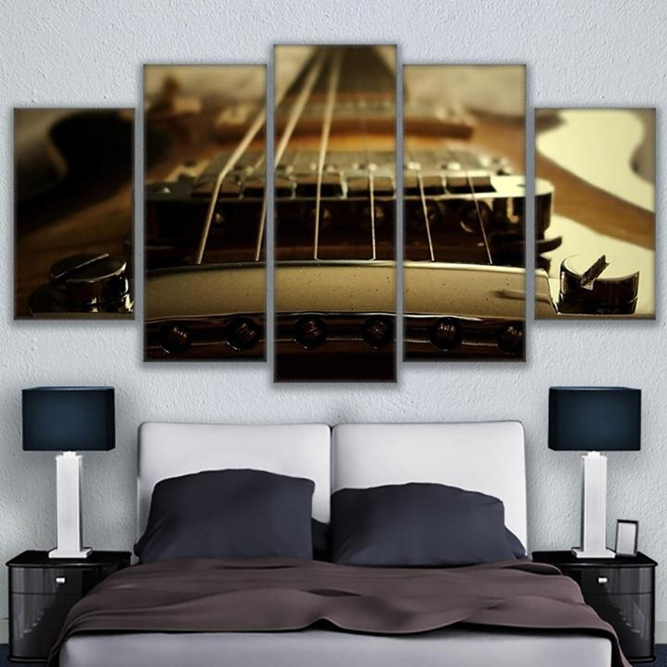 5 Panels Modernen Haus Dekorative Wand Poster Fr Wohnzimmer Gitarre Saiten Blues Musik Bilder HD Druck