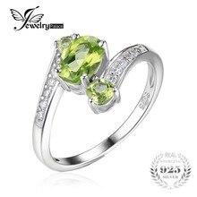 JewelryPalace 1.1ct Real de Plata de ley 925 Natural Verde Peridot 3 Piedra Anillo de Aniversario Regalo de La Joyería Para Las Mujeres Vantage