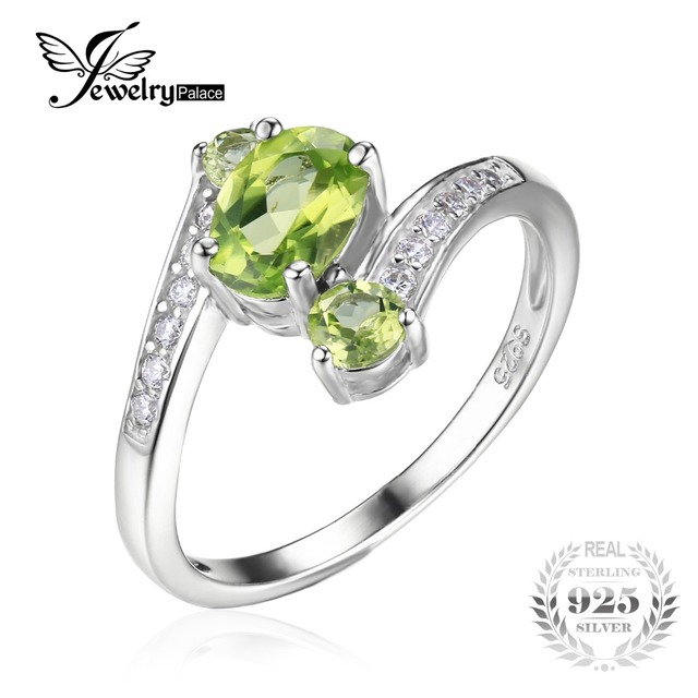 JewelryPalace Real 925 Sterling Silver 1.1ct Natural Green Peridot 3 Stone Anniversary Ring Jewelry For Women Vantage Gift