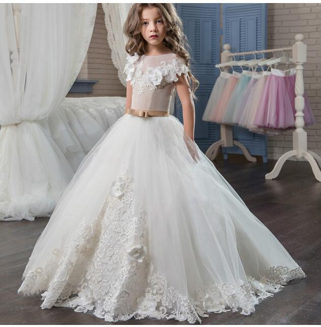 Girls Wedding Formal Dresses 2018 Lace Tailing Catwalk Gauze Prom Ball Gown Flowers Girls Princess Dress Kids Long Party Dress girl s formal dress 2018 flower girls wedding dresses kids gauze sequins party ball gown children s long prom dress white 3 13y