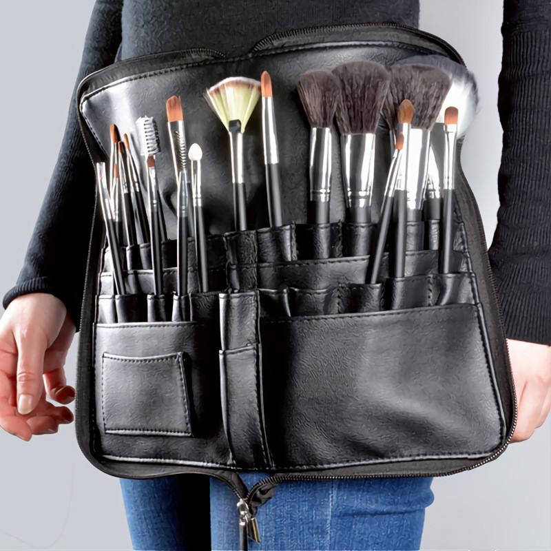 Multi-function Portable PU Cosmetic Bag Large Capacity Makeup Brush Bag With Zipper Belt For Professional Makeup Artist 25#