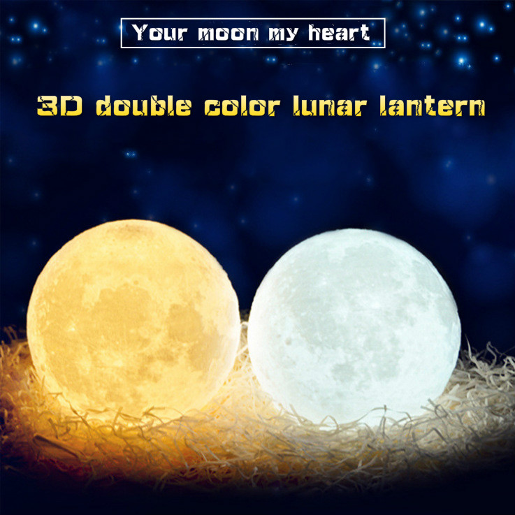 Touch Two-color Moon Light Sensor Energy-saving Night Light 3D Printing Bedside Creative Desk Lamp Led Light Moon Lamp