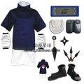 Naruto uchiha sasuke cos versão conjunto completo traje cosplay incluem sapatos criança + kunai + headband + leg & cintura saco de traje de Halloween