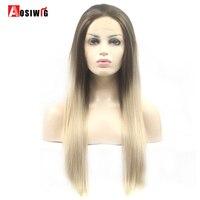 AOSIWIG Tự Nhiên Ombre Dài Straight Hair Tổng Hợp Lace Wigs Front High Sợi Nhiệt Độ Cosplay Wig Đối Với Đen/Trắng Phụ N