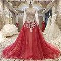 Foto real apliques perlas de noche dress party dress de manga larga de Encaje rojo de Fiesta Vestidos de Fiesta Vestido de Traje de Alta Calidad De Soiree